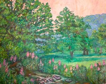 Park Road Art 40x30 Impressionist Landscape Oil Painting Award Winning Artist Kendall Kessler