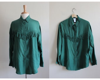 Vintage Green Fringe Silk Button Down Top