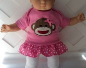 Doll Clothes,  Bitty Baby Girl   3 pc cute  Monkey Pants dress  outfit  with headband and Leggings