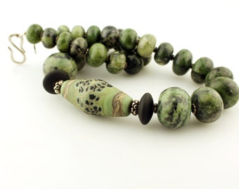 Lampwork and Gemstone Necklace and Earrings Set Green Zoisite Sterling Silver Chunky Beaded Jewelry 'Evergreen'