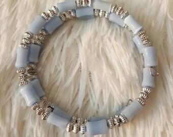 Cat's eye glass bead wrap around bracelet