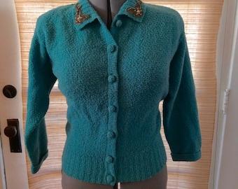 LOVELY 1950's BLUE Beauty Rhinestone Applique Pearls and Rhinestones Cardigan