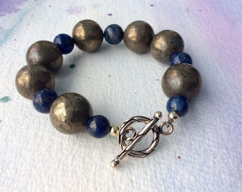 FREE SHIPPING Large Pyrite Lapis Stone Sterling Silver Toggle Clasp Bracelet