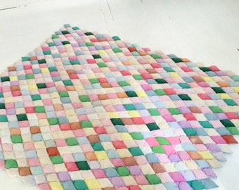 Vintage 1950s 1940s Cotton Quilt Biscuit Harlequin Hand Sewn Puffy SALE