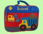 Stephen Joseph Child's Personalized CONSTRUCTION Themed Lunch Box In Red-Monogramming Included in the Price-Pink & Purple
