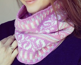 Knit Cowl, Fair Isle Neck Warmer, One size, Beige and Pink