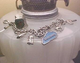 Vintage Souvenir KENTUCKY Charm Bracelet & Kentucky HORSE Thimble