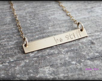 Bar Necklace, Gold Bar Necklace, Hand Stamped Bar Necklace, Sterling Silver Hand Stamped Bar Necklace, Personalized Bar Necklace, Mama Mia