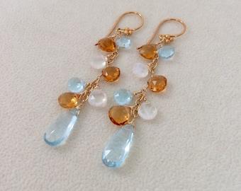 Sky Blue Topaz, Golden Citrine, Rainbow Moonstone Earrings in Gold fill