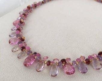 Semiprecious Gemstone Necklace in Gold Vermeil with Pink Topaz, Ametrine, Pink Sapphire, Garnet, Light Amethyst, Mystic Pink Quartz
