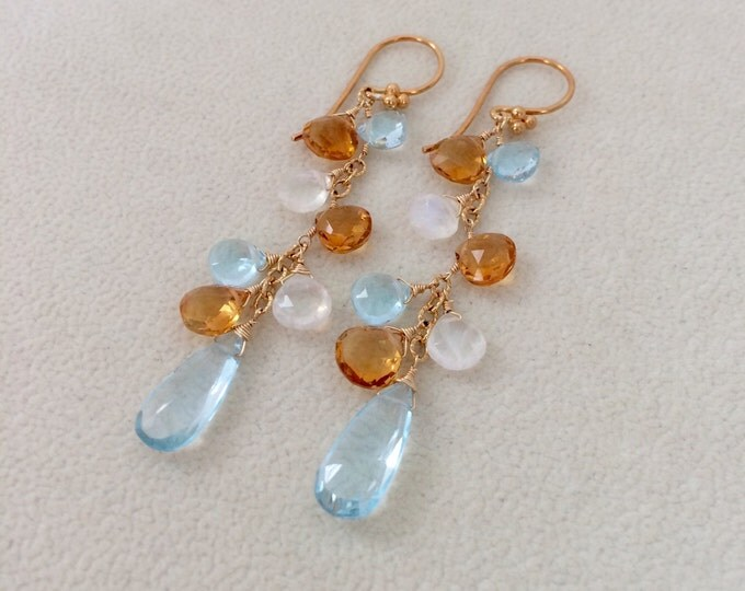 Sky Blue Topaz, Golden Citrine, Rainbow Moonstone Earrings in Gold fill