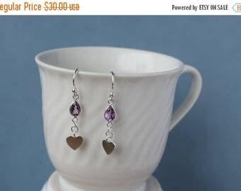 January sale Amethsyt gemstone briolette (7mm), sterling silver dangle earrings. February gemstone