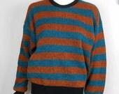 Vintage 90s 80s Striped Sweater Teal Orange Grunge Mod Nerd Skater Surfer