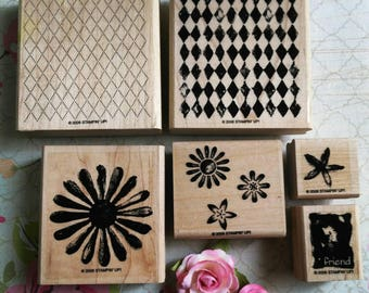 Stampin' Up! Rubber Stamp set of 6 wood mounted
