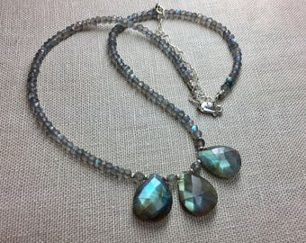 Labradorite Rondelle Necklace with Labradorite Briolettes in Sterling Silver