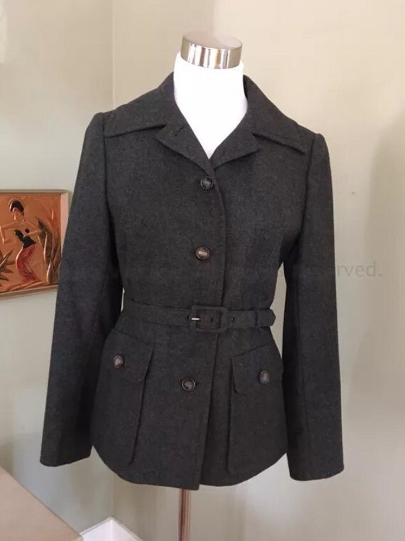 1980s Hobson of Copenhagen Demmark Dark Gray Wool Jacket with Front Pockets and Matching Belt Fully Lined-S