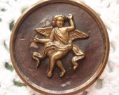 Large  Cherub Metal Button Antique Angel Pictorial Brass with Leather Background  Late Victorian Turn of the Century