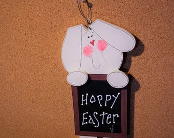 "Easter Bunny Chalk Board Wall/Door hanging. Measures approximately 10"" H x 41/2"" wide"