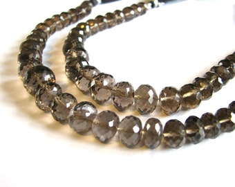 AAA Smoky Quartz rondelles, large faceted rondelles, full 7 inch strand, 8-11mm (w93)