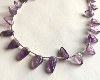 Carved Amethyst leaves, leaf briolettes, 10 inch strand, 24 beads, 8-13mm (w165)
