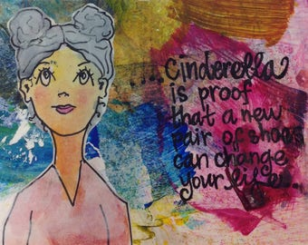 Whimsical girl print with quote, gelli print, postcard