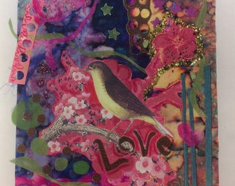 Print of mixed media piece, bird, love