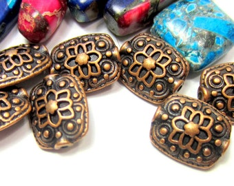 18 Antique copper beads jewerly supply gypsy chic ethnic boho chic 11mm x 13mm copper focal beads  (W1)