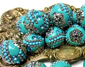 5 Handmade beads Indonesia clay beads    blue tribal bead supply Kashmiri blue silver beads focal beads 19m x 8mm Bus (B1B2)