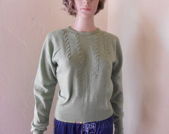 50's Vintage Green Cashmere Sweater, Size M