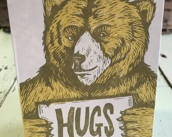 Bear Hugs Woodcut Card