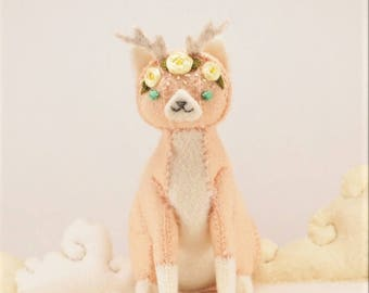 Felt stuffed catalope plush - Stuffed cat plush with antlers and pink roses - cute stuffed cat plush