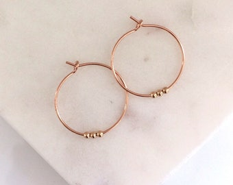 Small Beaded Rose Gold Hoop earrings - dainty hoops - rose gold fill