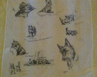 Jack and Jean Scottie Dog Silk Handkerchief