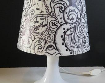 Altered Ikea Hacked Lampan OOAK Pointillism Pen & Ink Shade Hearts, Locks, Keys, Pyramids, Tentacles, Mushrooms, Spiders