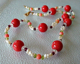 Red mountain jade,  fresh water pearls, natural coral, peridot, garnet and rose quartz necklace