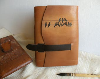personalized leather journal, custom monogram, vintage style, travel notebook, brown journal, Spring