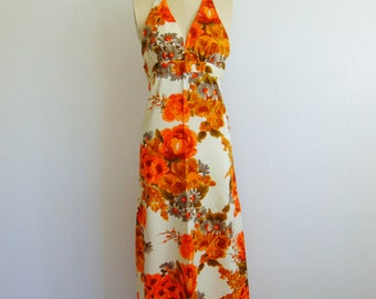 70s oversized FLORAL maxi dress halter top size small