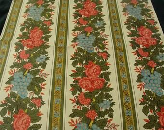 Vintage Wallpaper....Classic 1950s Stripe Floral Pattern.