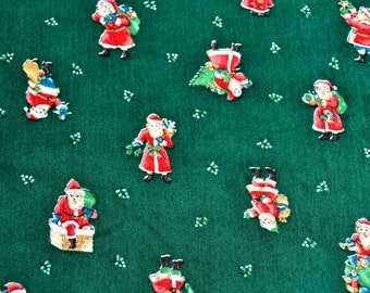 Vintage Christmas Fabric - Santa Claus on Green - By the Yard