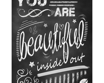 You Are Beautiful Wall Art Print, Quote Black White, Chalkboard Artwork,Gift Ideas for Birthday, Motivating Poster Art,Kids room Art Gift