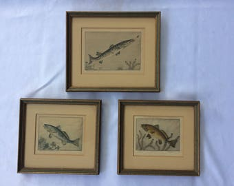 Set of 3 Benson B Moore Original Etchings, Numbered and Signed