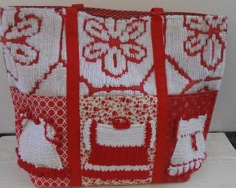 Vintage Crochet Trimmed Tote / Little Dresses Knitting Bag or Diaper Bag