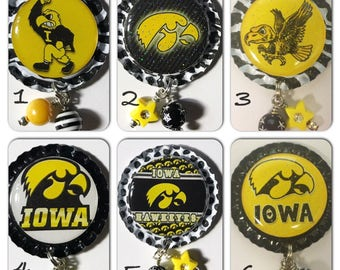 TOP Only** Iowa Hawkeye (set A) Interchangeable Badge Reel Tops  *PICK ONE*