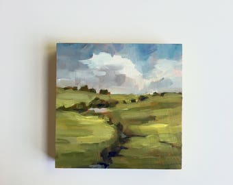 Meandering Stream  • original oil painting 5x5""