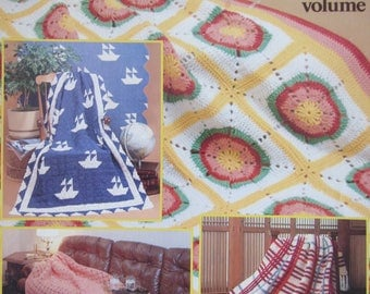Afghan Treasury, 10 Patterns to Knit and Crochet, vol. 1, by American School of Needlework, 1983