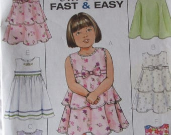 SALE- Butterick B4434 Fasy and Easy Little Girls Sundresses Summer Dress Tiered Skirt Option Size 1-2-3 Uncut Sewing Pattern 2005