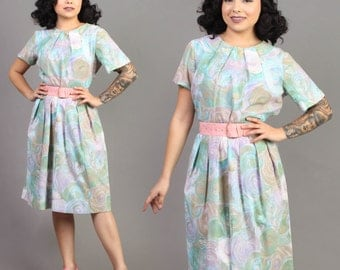 vintage PASTEL+ABSTRACT hourglass GARDEN party rockabilly pinup pleated dress 1950s 50s large L
