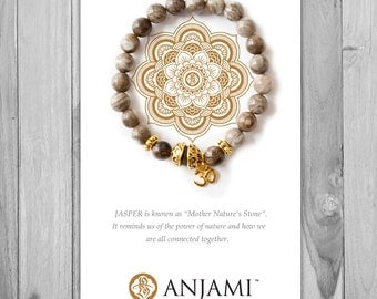 SILVER LEAF JASPER,Mala Bracelet,Beaded Bracelet,Gemstone Bracelet,Yoga Jewelry,Inspirational Jewelry,Healing Jewelry, Gift for Her