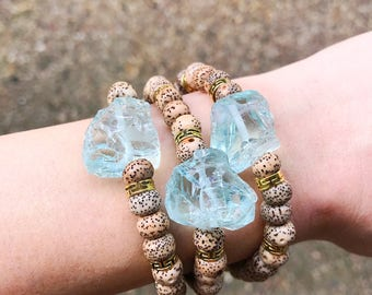 Lotus Seed Bead and Rough Quartz Nugget Bracelet