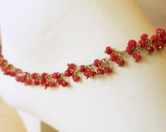 Ruby Ankle Bracelet, Bracelet, Anklet, Custom Anklet, July Birthstone, Beach
